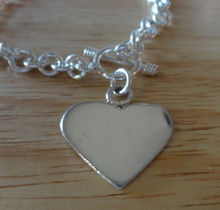 """7.5"""" Sterling Silver 14g Heart with Toggle Charm Bracelet"""