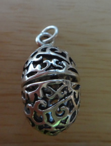 Lg Movable Cutout Easter Egg Sterling Silver Charm