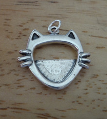 Detailed Cat Whiskers Picture Frame Sterling Silver Charm