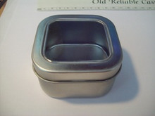 """2 Silver Gift Tin Box with window holds 4 oz & 2-3/8"""" square"""