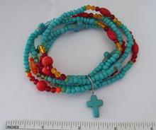 "7"" Blue Magnasite Crosses & Coral Stone Beaded Stretchy 5 Strand Bracelet"