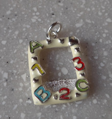 White & Red Enamel says ABC123 Frame Sterling Silver Charm