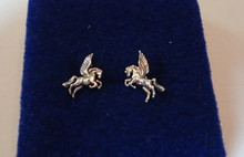 TINY 8x10mm Pegasus Horse Sterling Silver Studs Posts Earrings!