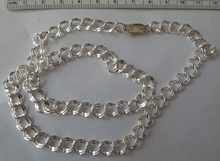 """24"""" Sterling Silver 7 mm Double Diamond Cut Charm Necklace Chain"""