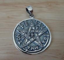 22mm Hebrew Tetragrammaton Star of David Round Disk Sterling Silver Charm