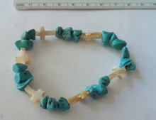 """6"""" Blue Turquoise Stone with Mother of Pearl Crosses Beaded Stretchy Bracelet"""