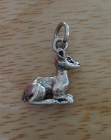 3D 14x14mm solid Deer Fawn Lying down Sterling Silver Charm