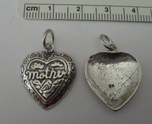 Large fancy Heart says Mother Sterling Silver Charm