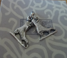 Movable Double Ice Skate 2 Skates Sterling Silver Charm