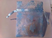 "3 Blue Baby Boy Shower Organza Jewelry Drawstring 3""x4"" Gift Bags"