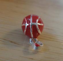 3D 10mm Orange Enamel Basketball Ball Sterling Silver Charm