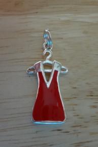 Red Enamel Dress on Hanger Sterling Silver Charm
