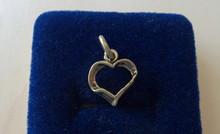 15x11mm Cute Open Heart Sterling Silver Charm