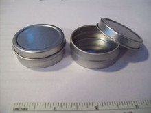 """2 Small Silver Gift Tin Box holds .25 ounce & 1.25"""" Diam."""