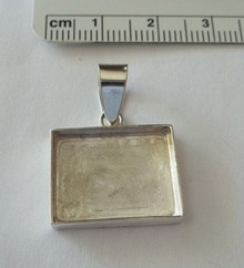 Engravable Horizontal Photo Picture Frame Rectangle Tag Sterling Silver Charm!!