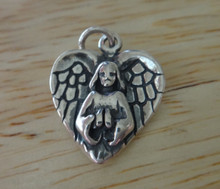18x14mm Angel Heart Wings on front & back Sterling Silver Charm