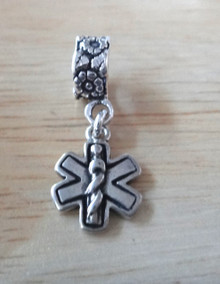 Small engrave able Medical Alert ID Sterling Silver Charm large hole Bead decorated with flowers