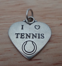 18x18mm I Love Tennis with Ball Heart Sterling Silver Charm