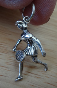 3D 14x21mm Female Tennis Player with Racket Sterling Silver Charm