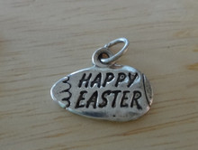 14x18mm Easter Egg says Happy Easter Sterling Silver Charm