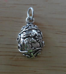 11x17mm Rabbit Decorated Easter Bunny Egg Sterling Silver Charm