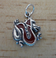 Red Enamel Chinese Dragon Sterling Silver Charm!