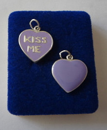Purple Enamel Heart says Kiss Me Charm