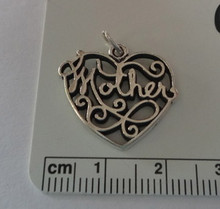 Large cut out Heart says Mother Sterling Silver Charm
