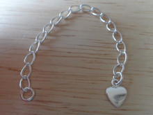 """8 cm or 3"""" flat Heart Sterling Silver Extension Chain"""