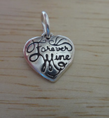 Tiny Heart says Forever Mine Sterling Silver Charm!