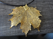 """17-19"""" adjustable leather with Lg Gold Plated Delicate 2.5""""x2.5"""" Sugar Maple Shaped Leaf Pendant"""