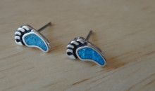 Tiny 4x9mm Blue Turquoise Bear Paw Claw Sterling Silver Stud Earrings