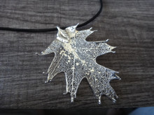 """17-19"""" adjustable Leather with Silver Plated Delicate 2.5""""x1.75"""" Oak Shaped Leaf Pendant"""