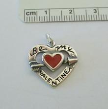 Red Enamel Be My Valentine Heart Charm