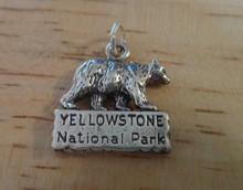 Bear says Yellowstone National Park Sterling Silver Charm