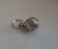 3D 6mm Solid Golf Ball Sterling Silver Charm