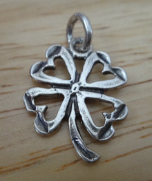 17x20mm Four Leaf Clover with Hearts St Patrick's Sterling Silver Charm
