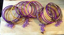 "21 piece Costume 7.5"" Dark Purple & Gold Bangle Bracelets"
