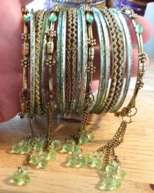 "22 piece Costume 7.5"" Lt Green & Gold Bangle Bracelets"