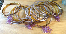 "21 piece Costume 7.5"" Lt Purple & Gold Bangle Bracelets"