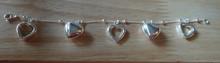"""7.25"""" Sterling Silver 11gram Open & Puffy Heart Charm Bracelet"""