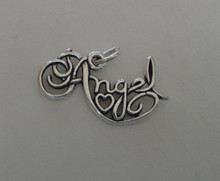 Says Angel with a Heart Sterling Silver Charm