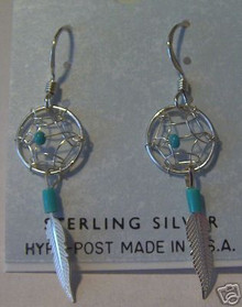 Sterling Silver Indian Dreamcatcher Turquoise Earrings