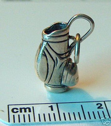 3D 17x9mm 3.2g Solid Golf Bag Sterling Silver Charm
