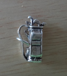 3D 17x10mm 3.2g Golf Bag with Clubs Sterling Silver Charm