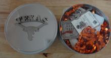 "4"" University of Texas UT Longhorn Keychain, Pin Tie Tack, Magnet & Gift Tin"