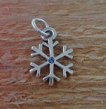 12mm diameter Snowflake with a Blue Crystal Christmas Sterling Silver Charm