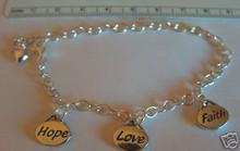 "6-8"" Adjustable Sterling Silver Faith Hope Love Bead Bracelet"