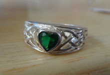 size 5 6 7 8 or 9 Bright Sterling Silver Green Celtic Heart Ring