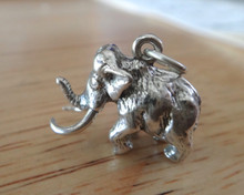 3D 20x15mm solid Heavy 6.2g Woolly Mammoth Dinosaur Sterling Silver Charm